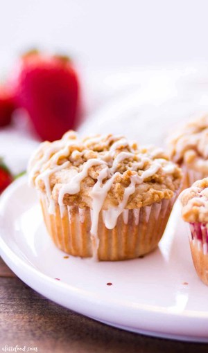 glazed strawberry muffin with streusel