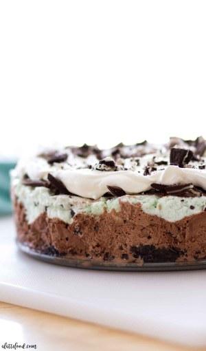 mint chocolate ice cream pie side view