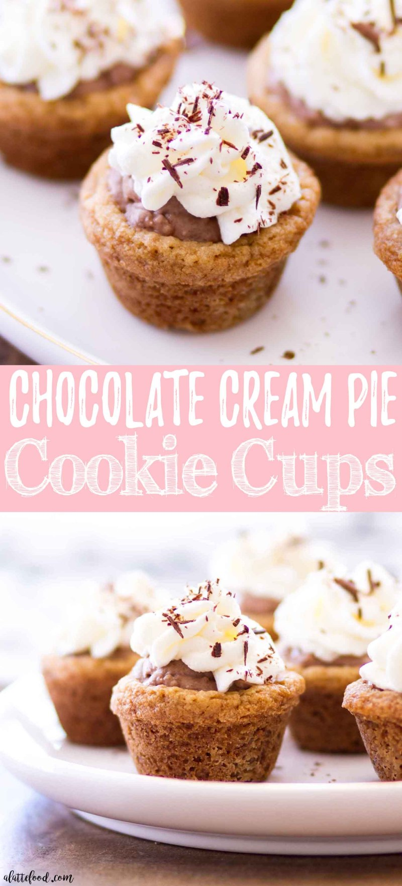 These easy Chocolate Cream Pie Cookie Cups are made with a graham cracker cookie crust and filled with rich chocolate cream pie filling and topped with homemade whipped cream! They are an incredibly easy chocolate dessert recipe, and they are a dessert that can be made ahead of time.  easy chocolate cream pie recipe, no bake chocolate cream pie recipe