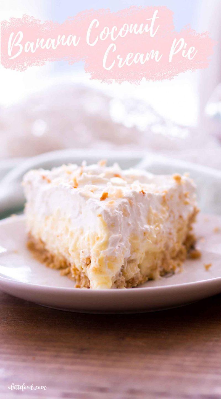 no bake banana coconut cream pie slice