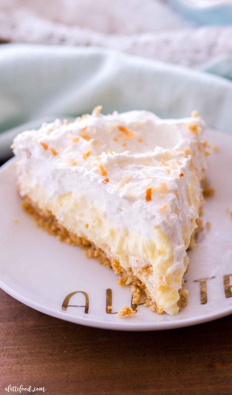 slice of banana cream pie with coconut