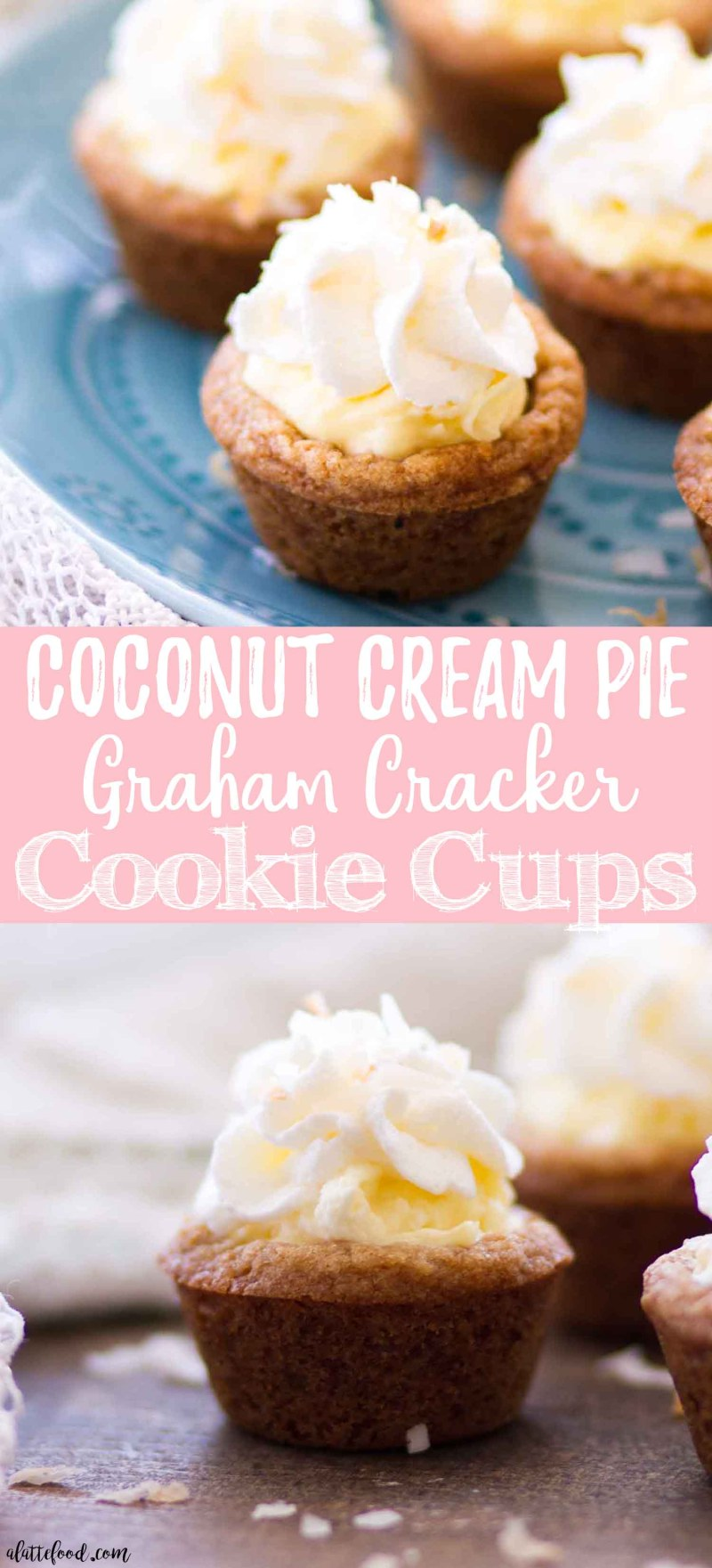This Homemade Coconut Cream Pie Cookie Cups Recipe is a combination of a graham cracker cookie crust (think homemade chocolate chip cookie dough + graham cracker crumbs minus the chocolate chips) and no bake coconut cream pie filling. This easy summer dessert is a total crowd pleaser! And a step-by-step video!