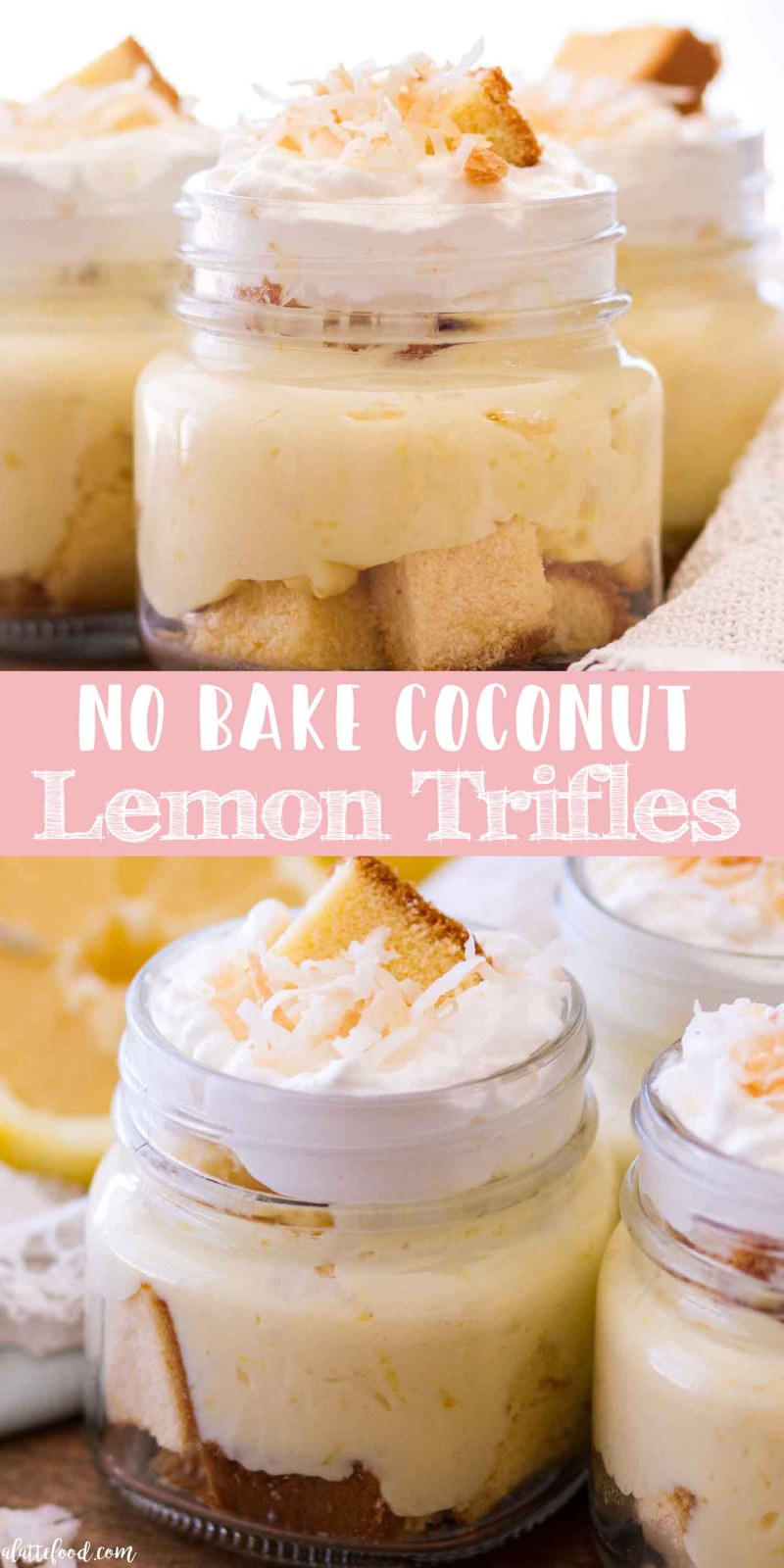 no bake coconut lemon trifles collage with text