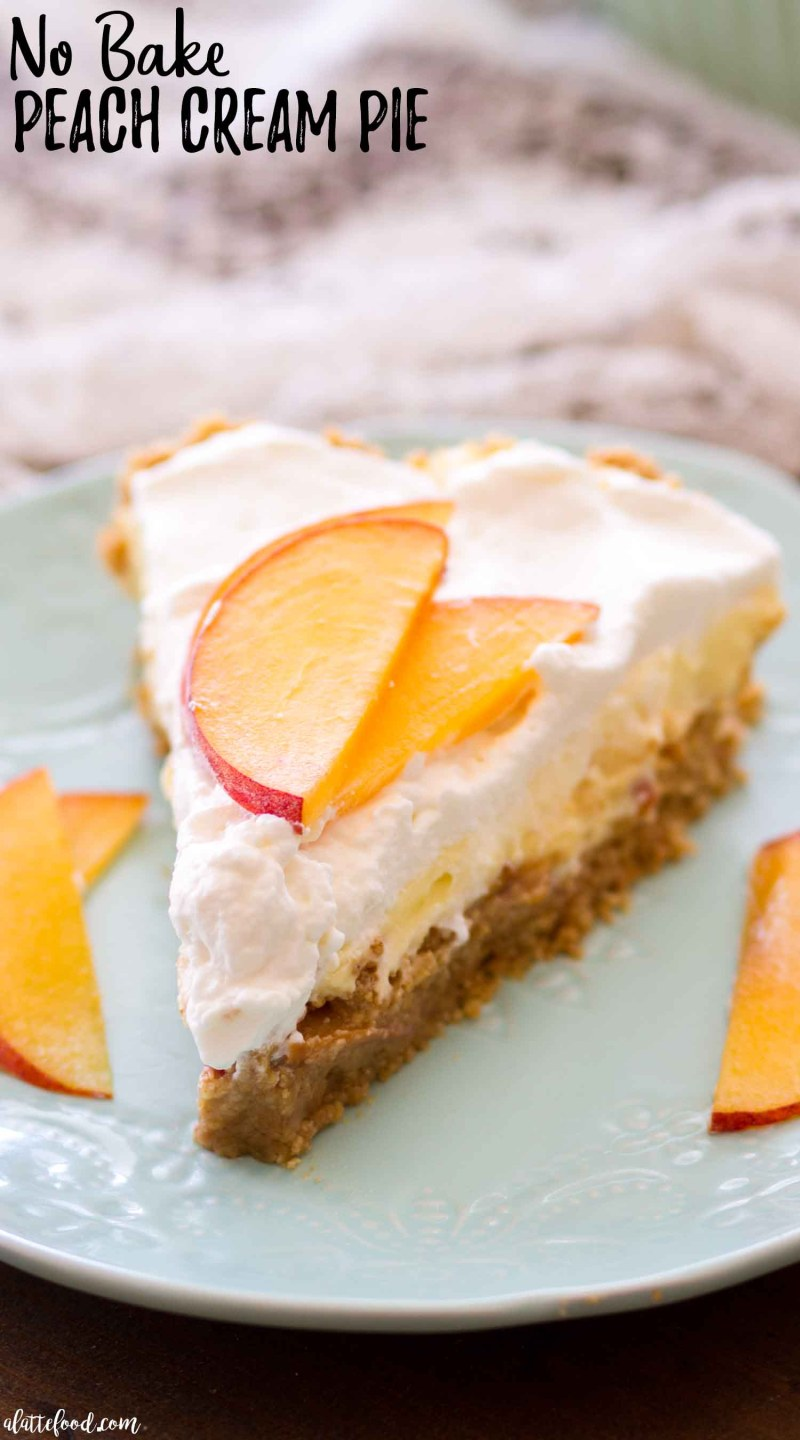 This No Bake Peach Cream Pie is made with fresh peaches, a no bake graham cracker crust, and an easy cream pie filling. This homemade peach pie makes the best easy no bake summer dessert recipe! This no bake peach pie is my new favorite summer dessert! I love no bake cream pie recipes, and this peaches and cream pie recipe is no exception!