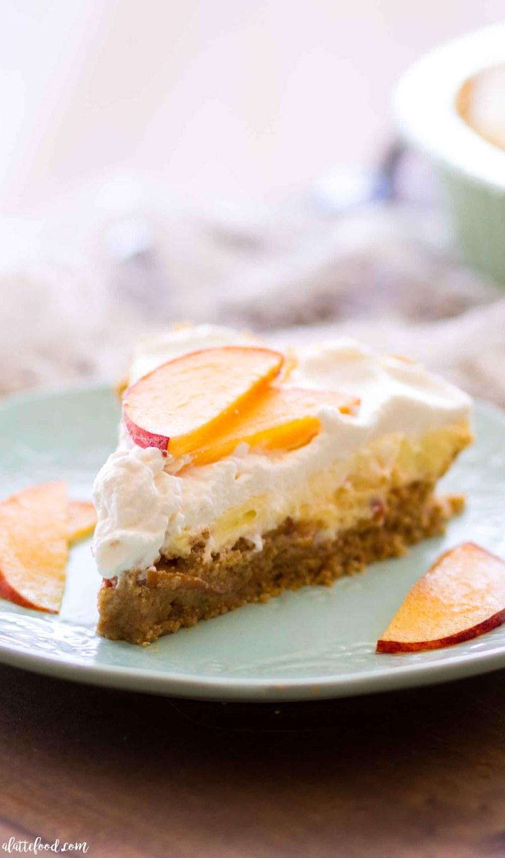 No Bake Peach Cream Pie - A Latte Food