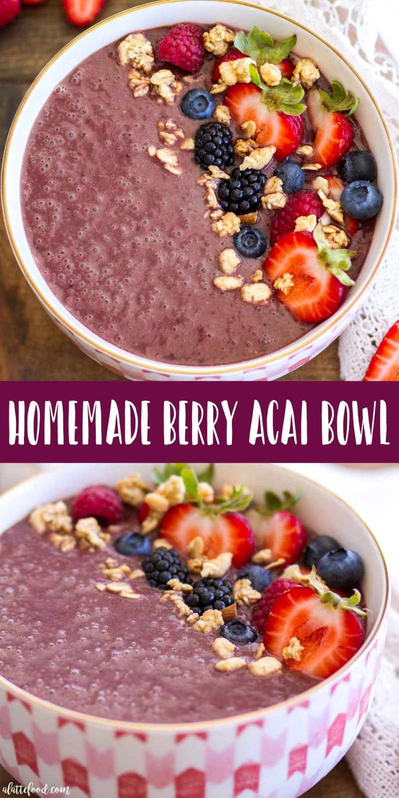 berry acai bowl collage photo with text