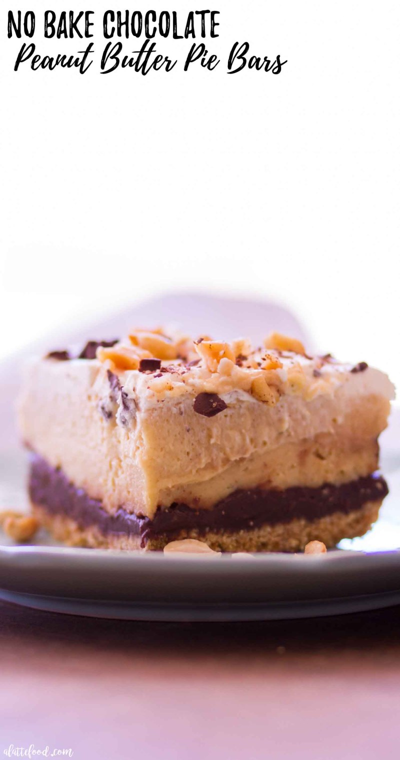 no bake chocolate peanut butter pie bars photo with text