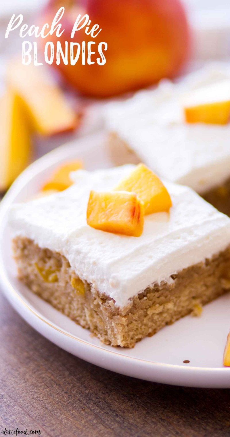 peach pie blondies on white plate with text on photo