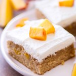 Peach Pie Blondies with Whipped Cream Frosting