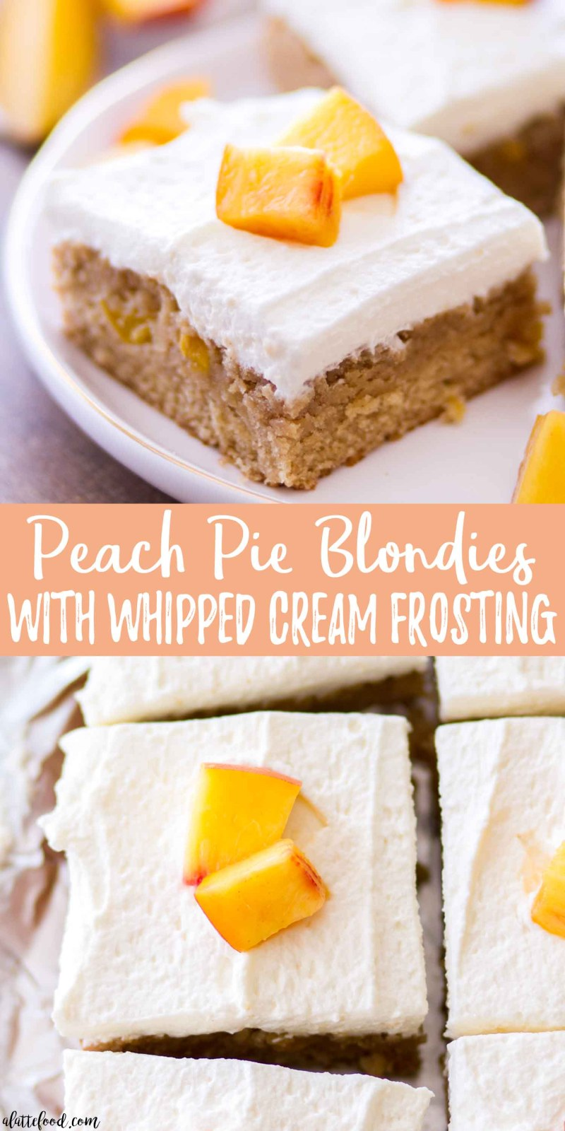 peach pie blondies collage with text