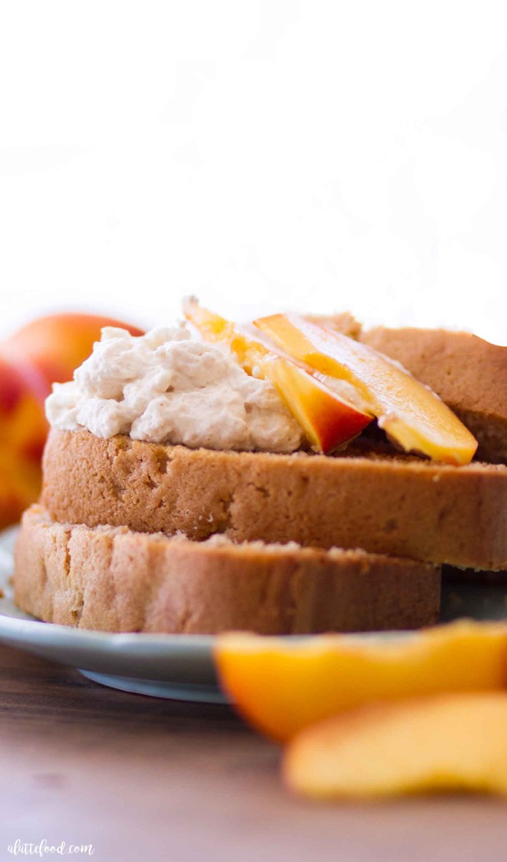peach pound cake on blue plate