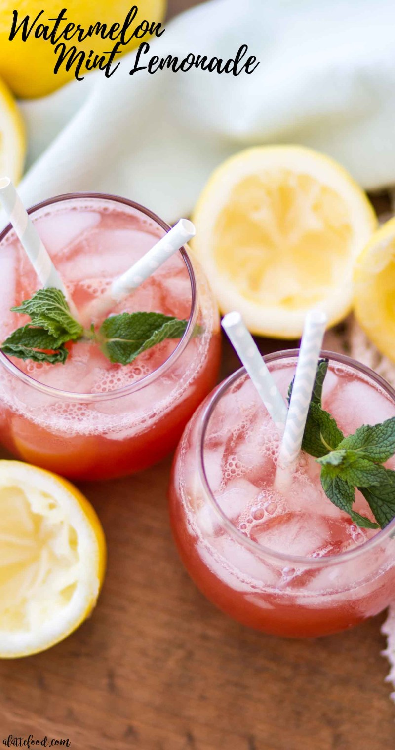 overhead shot of watermelon mint lemonade photo with text
