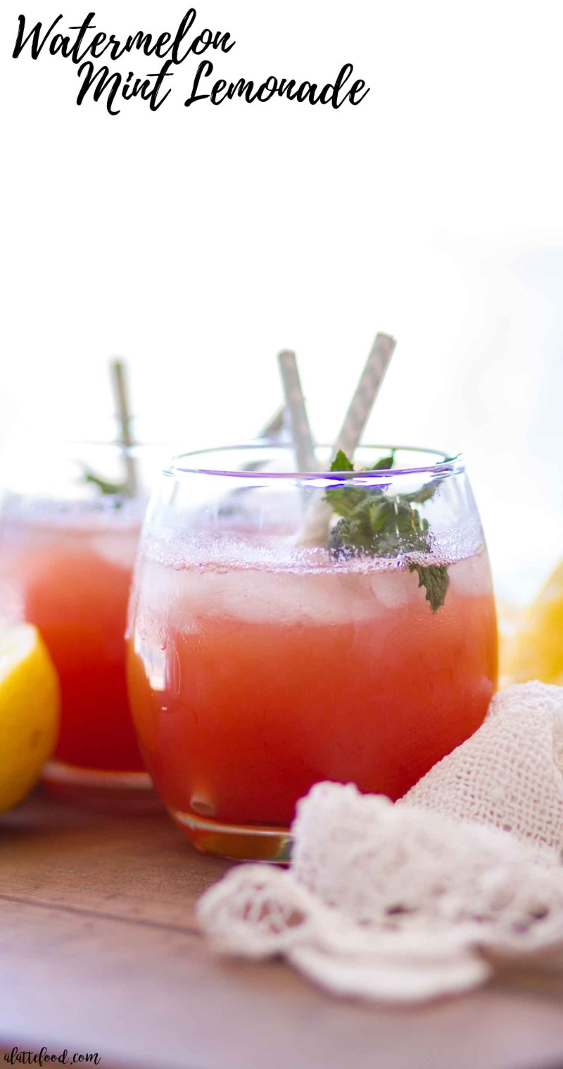 watermelon mint lemonade in glasses with fresh mint