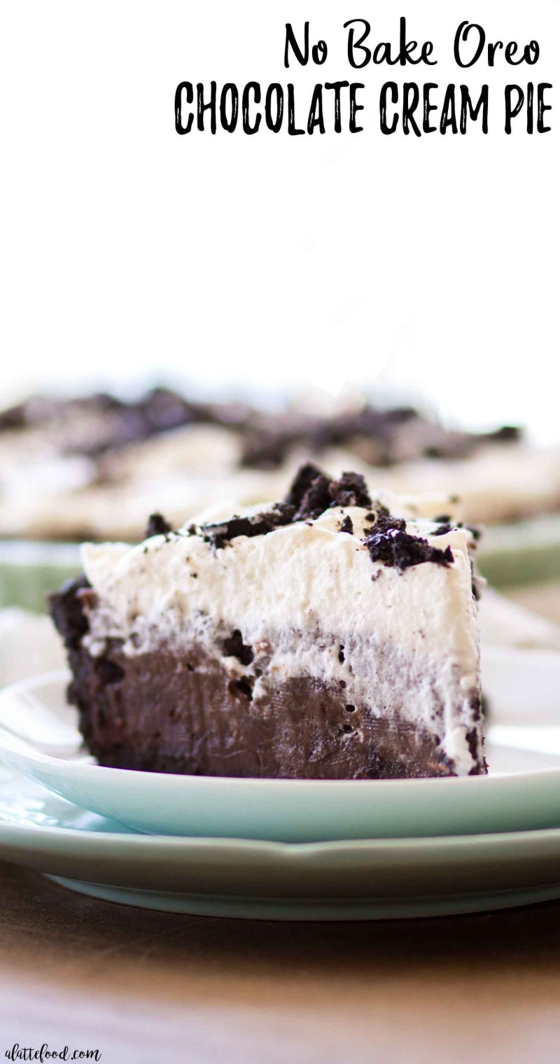 slice of no bake oreo chocolate cream pie with text