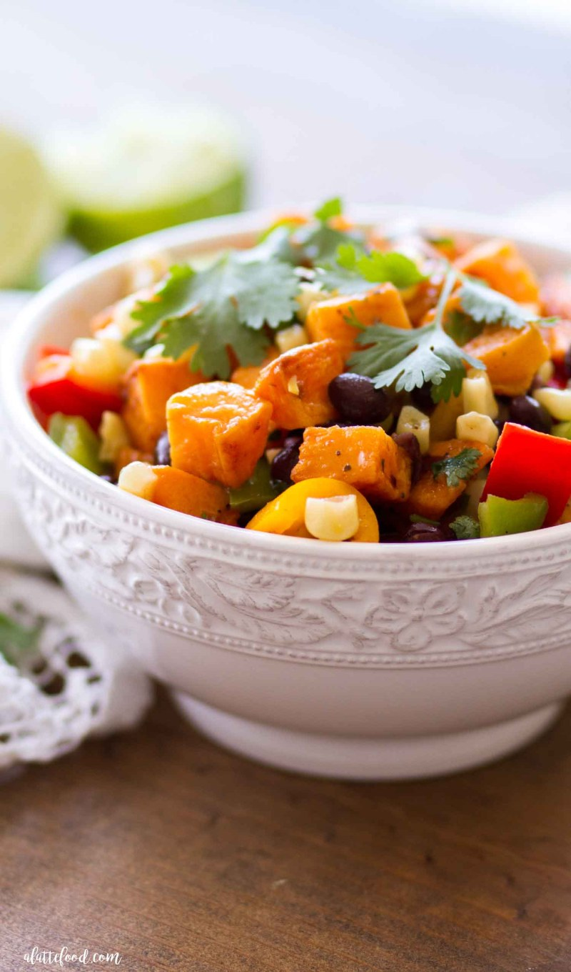southwestern sweet potato salad in white bowl