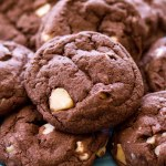 These Chocolate White Chocolate Macadamia Nut Cookies are extra rich, extra chocolatey, and extra good! Double Chocolate Chip Cookies meet White Chocolate Macadamia Nut Cookies for a match made in chocolate cookie heaven! These cookies are chewy in the center with slightly crispy edges—they're practically perfect! I love classic White Chocolate Chip Macadamia Nut Cookies, but Double Chocolate Chip Cookies are my ultimate weakness! These Chocolate White Chocolate Macadamia Nut Cookies combine my two loves and make for the BEST chocolate cookies! chewy white chocolate chip cookies, no chill cookie recipe, best chocolate chip cookies