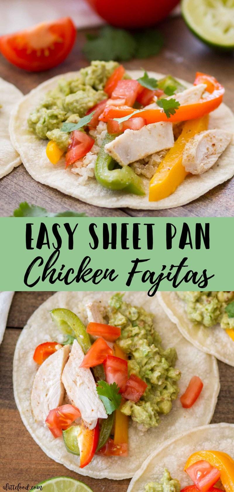 Easy Sheet Pan Chicken Fajitas -- collage photo of fajitas