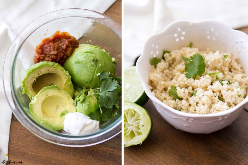 Easy Sheet Pan Chicken Fajitas -- overhead shot of guacamole and cilantro lime rice