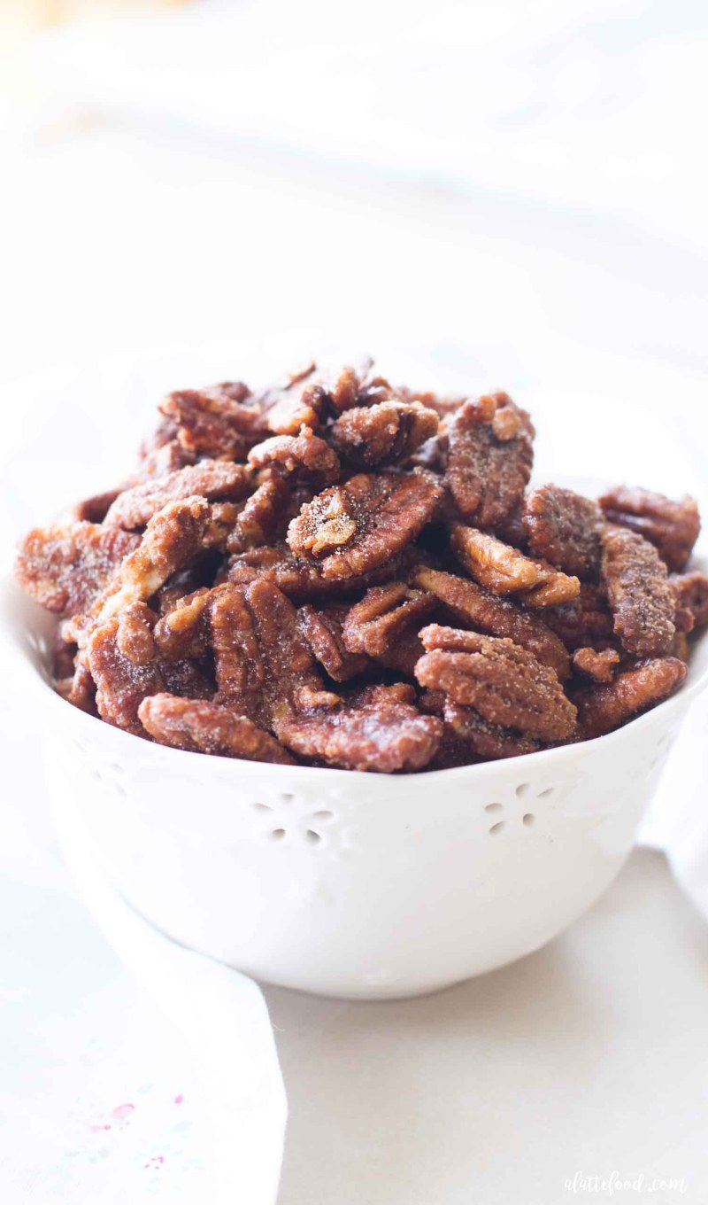 easy maple nuts in large white bowl