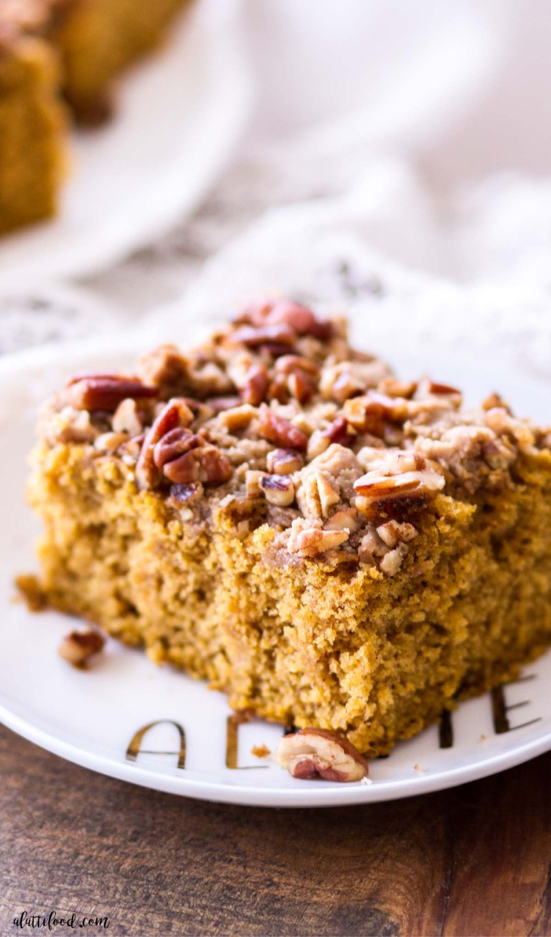 coffee cake with brown sugar and pumpkin on a plate