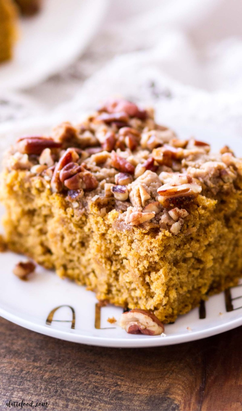 fluffy pumpkin coffee cake with brown sugar pecan topping