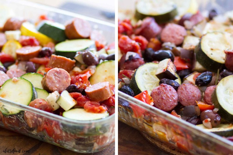 This Roasted Ratatouille Bowl is made with fresh roasted vegetables, smoked sausage, and jasmine rice, making it a perfectly comforting and wholesome meal perfect for the fall!