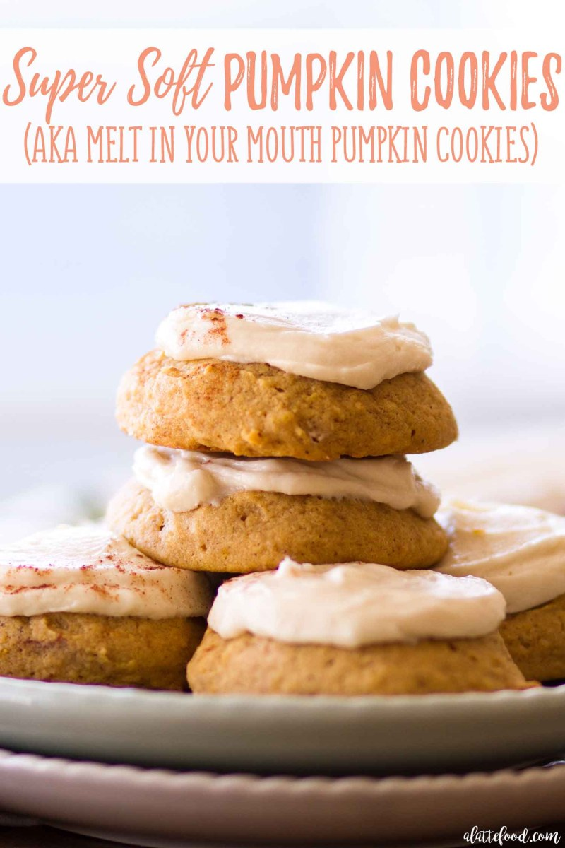 Easy soft-baked pumpkin cookies with a homemade maple buttercream frosting. They're pretty much melt in your mouth pumpkin cookies!