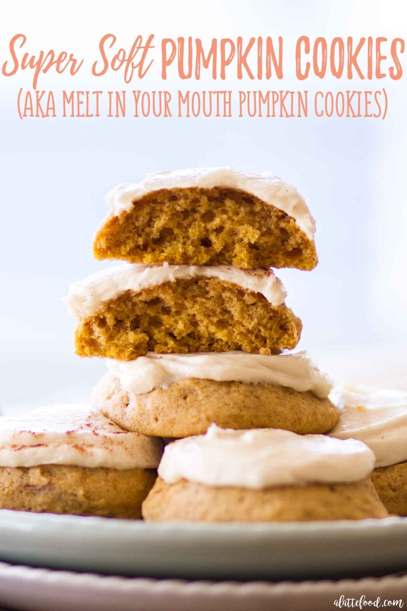The best soft pumpkin cookies recipe topped with a homemade maple buttercream frosting. These are like a melt in your mouth pumpkin cookie recipe!