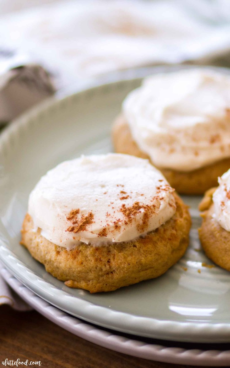 Super Soft Pumpkin Cookies with a Maple Frosting and cinnamon