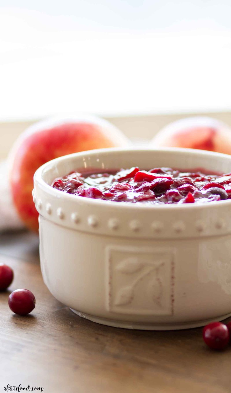 Homemade apple cranberry sauce made with fresh cranberries and is refined sugar free!
