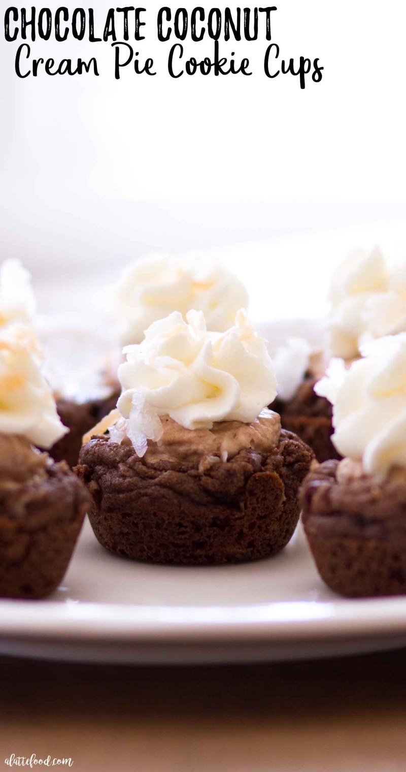 Easy Chocolate Coconut Cream Pie Cookie Cups with stabilized whipped cream.