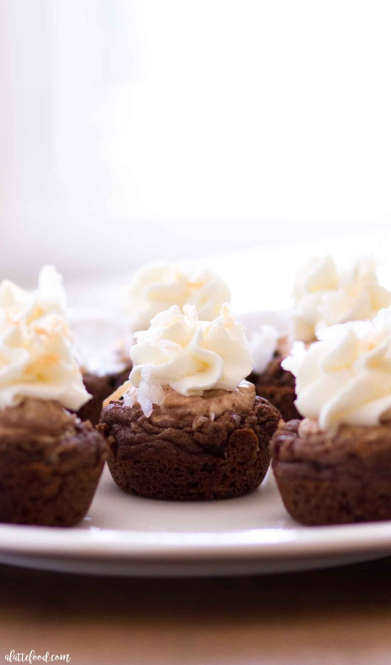 Easy Chocolate Coconut Cream Pie Cookie Cups with stabilized whipped cream and toasted coconut.
