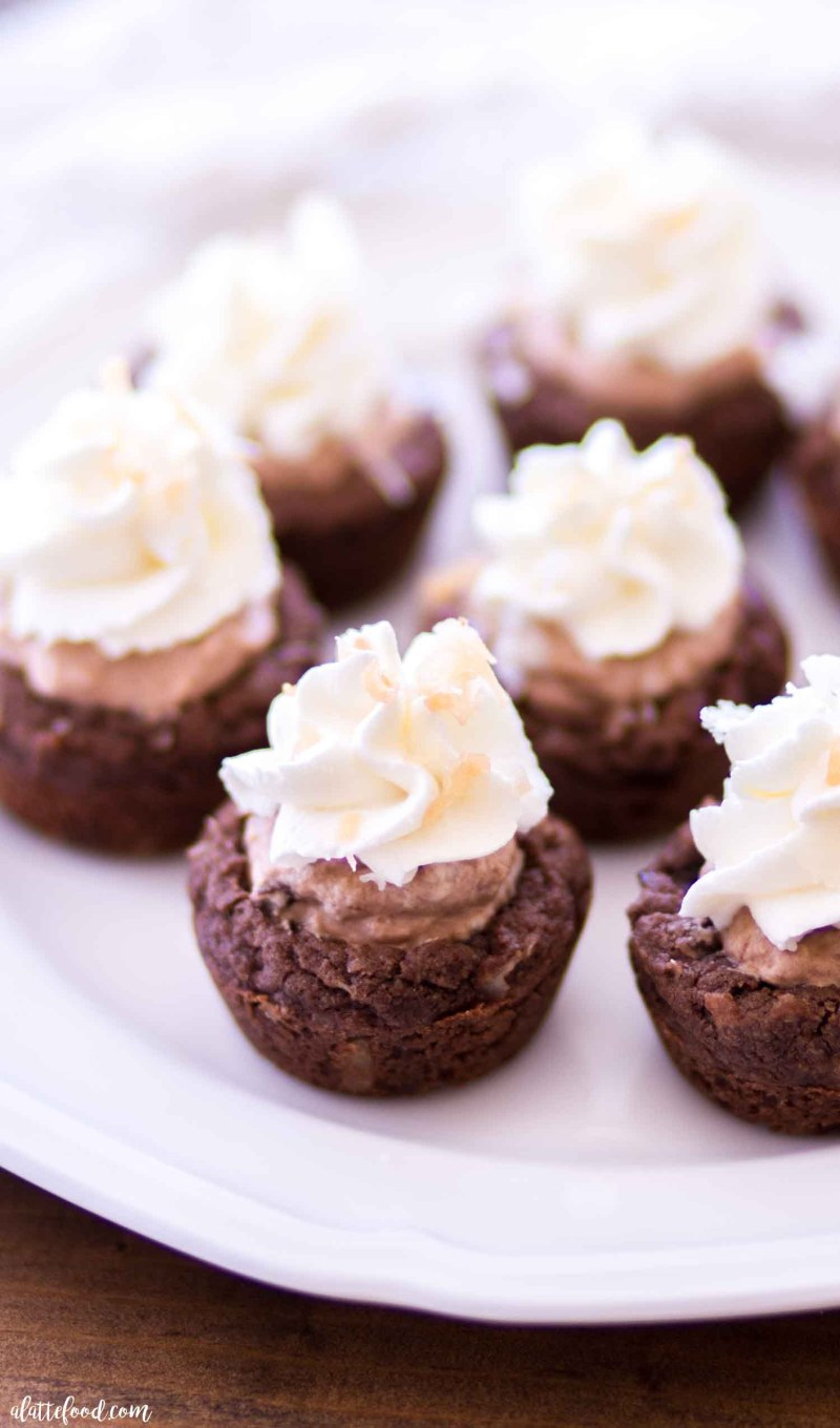 Easy Homemade Chocolate Coconut Cream Pie Cookie Cups with stabilized whipped cream and toasted coconut.