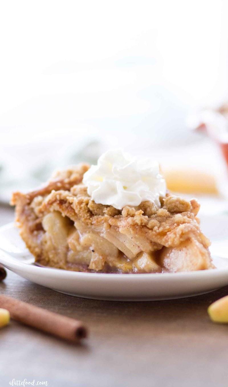 Easy Cinnamon Roll Dutch Apple Pie slice.