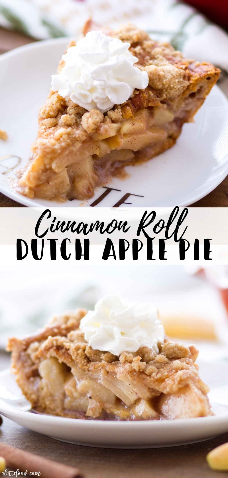 Homemade Cinnamon Roll Dutch Apple Pie (a cinnamon roll crust with homemade apple pie filling).