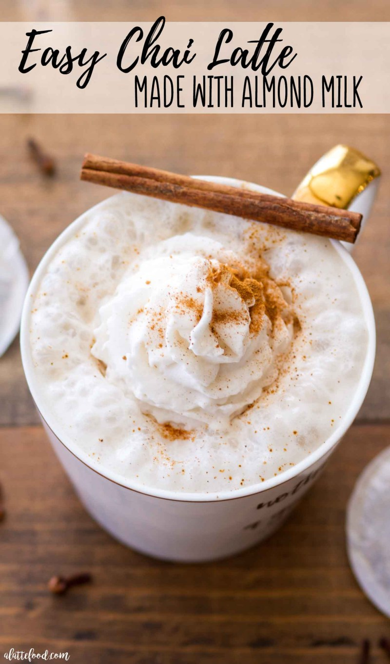 Easy chai latte with almond milk is refined sugar free and dairy free.