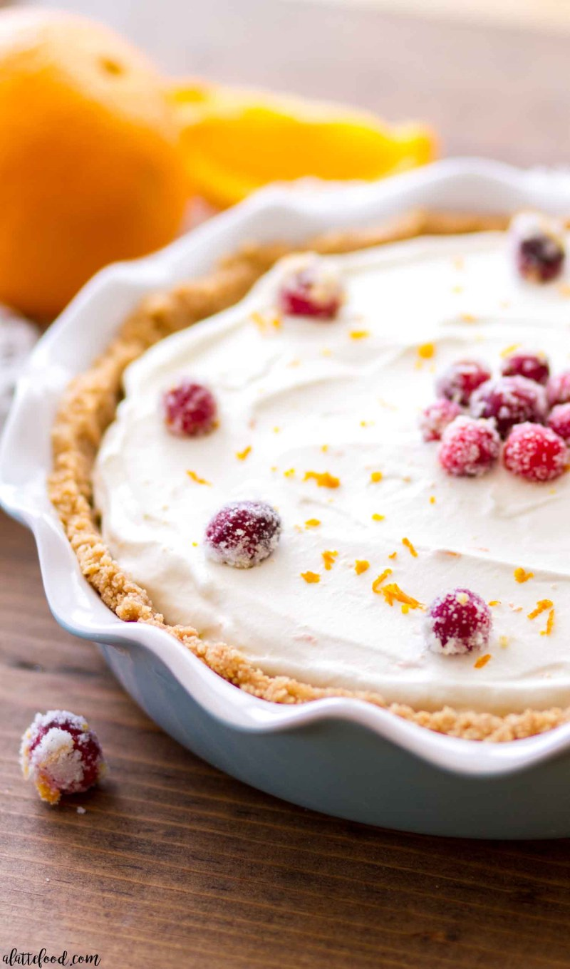 This easy No Bake Cranberry Orange Cream Pie makes a fun and flavorful Thanksgiving or Christmas dessert.