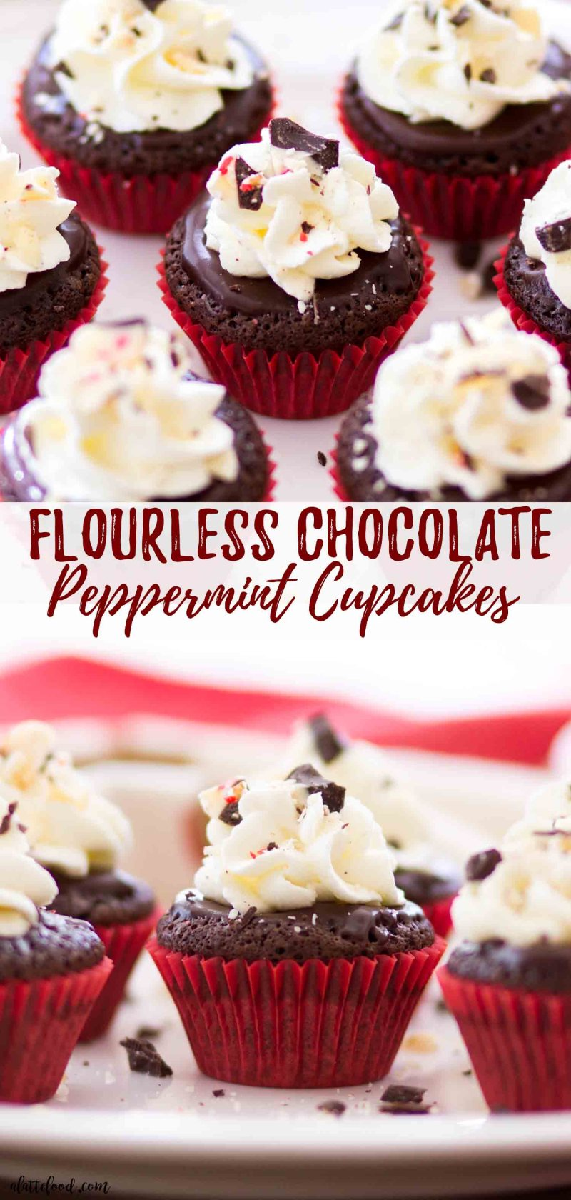 The best flourless chocolate cake recipe is turned into a flourless chocolate peppermint cupcake recipe for the holidays!
