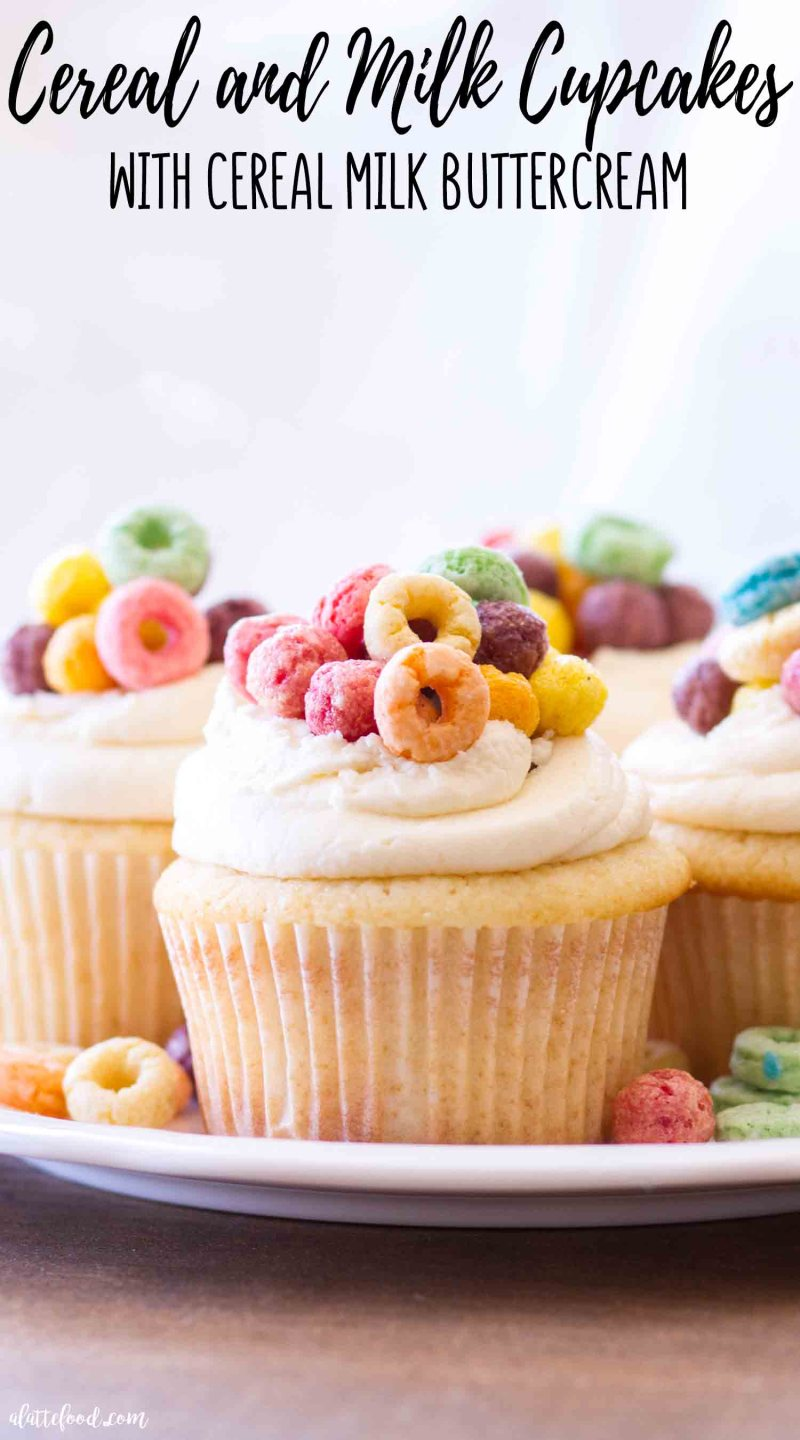 Easy Cereal and Milk Cupcakes are topped with a cereal milk buttercream. Homemade vanilla cupcakes get a sweet fruit loop cereal milk twist.