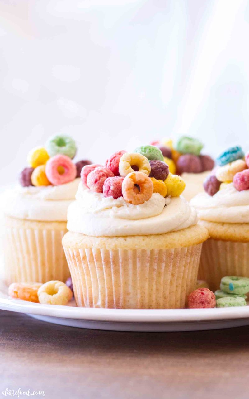 Cereal and Milk Cupcakes are topped with a cereal milk buttercream. how to make cereal milk cupcakes