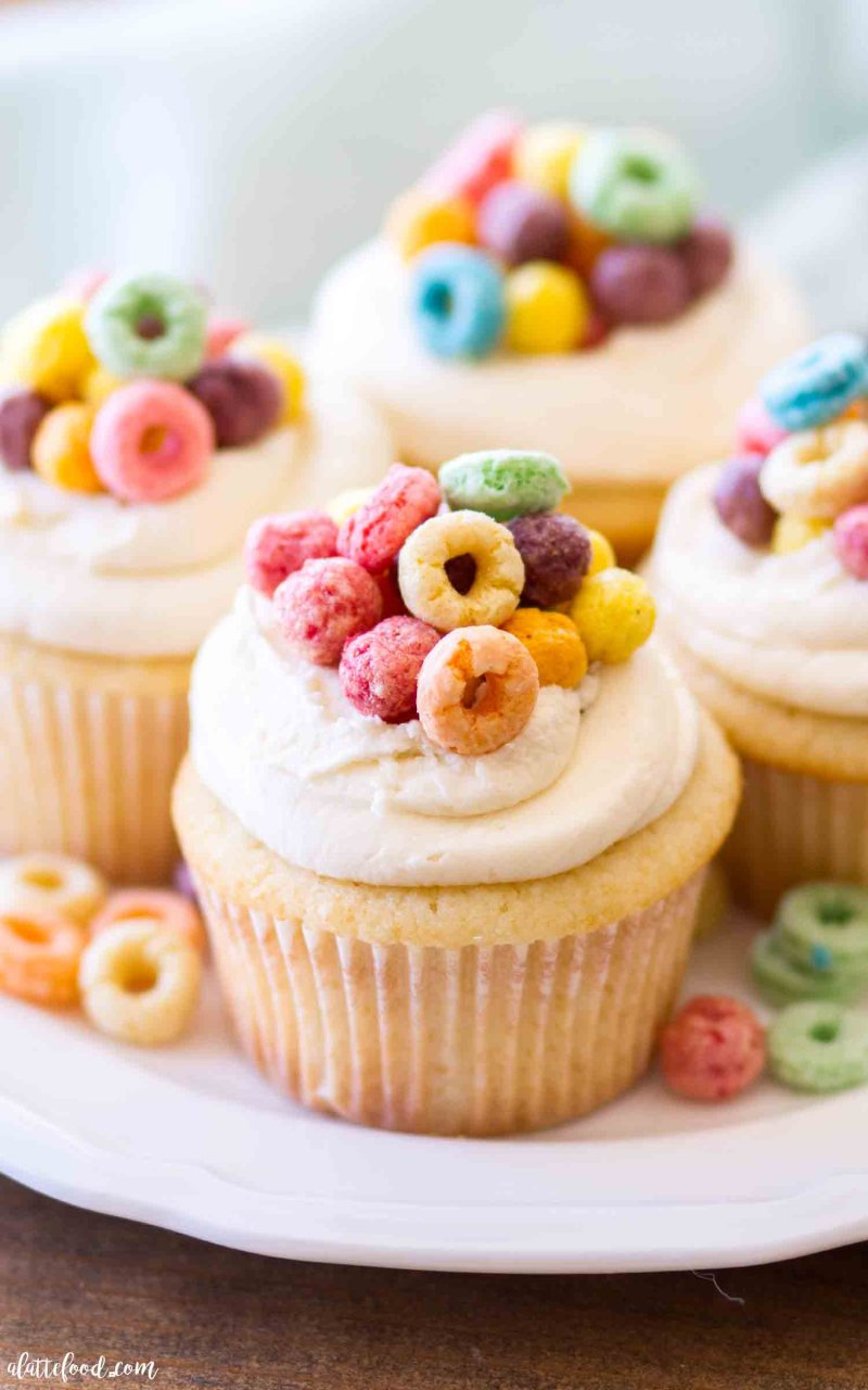These Cereal and Milk Cupcakes are topped with a cereal milk buttercream. easy vanilla cupcakes with cereal milk