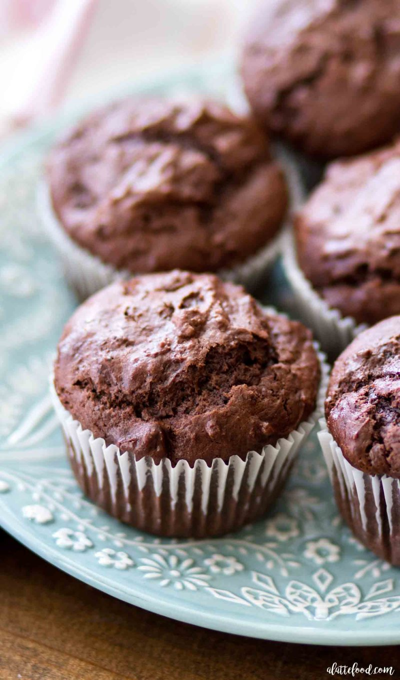 Easy Double Chocolate Chunk Muffins are rich, chocolatey and made in just one bowl! the best chocolate muffin recipe