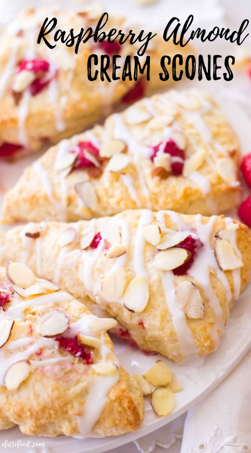 baked raspberry scones with toasted almonds