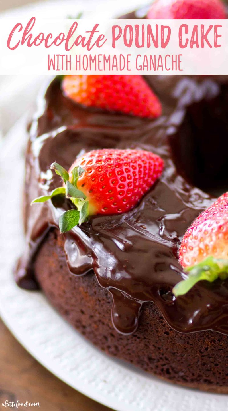 Easy chocolate pound cake is rich and fudgy with homemade chocolate ganache.