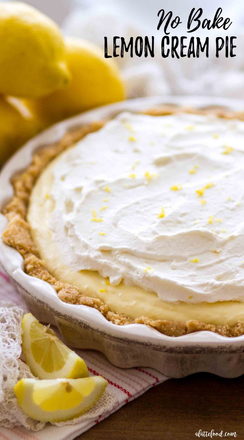 The best lemon cream pie is a no bake lemon cream pie recipe with homemade whipped cream and a combo golden oreo crust and vanilla wafer crust.