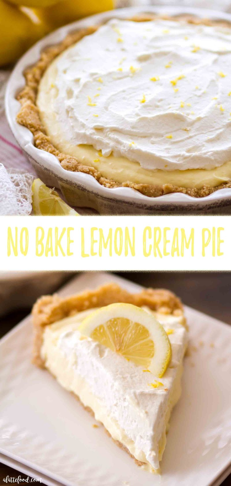 No Bake Lemon Cream Pie with a nilla wafer crust (vanilla wafer crust) and homemade lemon whipped cream.
