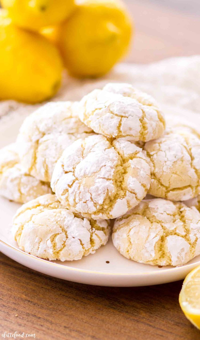 Cream Cheese Lemon Crinkle Cookies are soft, chewy and full of lemon flavor.