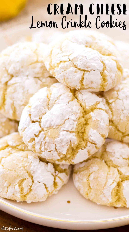 Chewy Cream Cheese Lemon Crinkle Cookies (aka soft lemon cookies with cream cheese and powdered sugar)