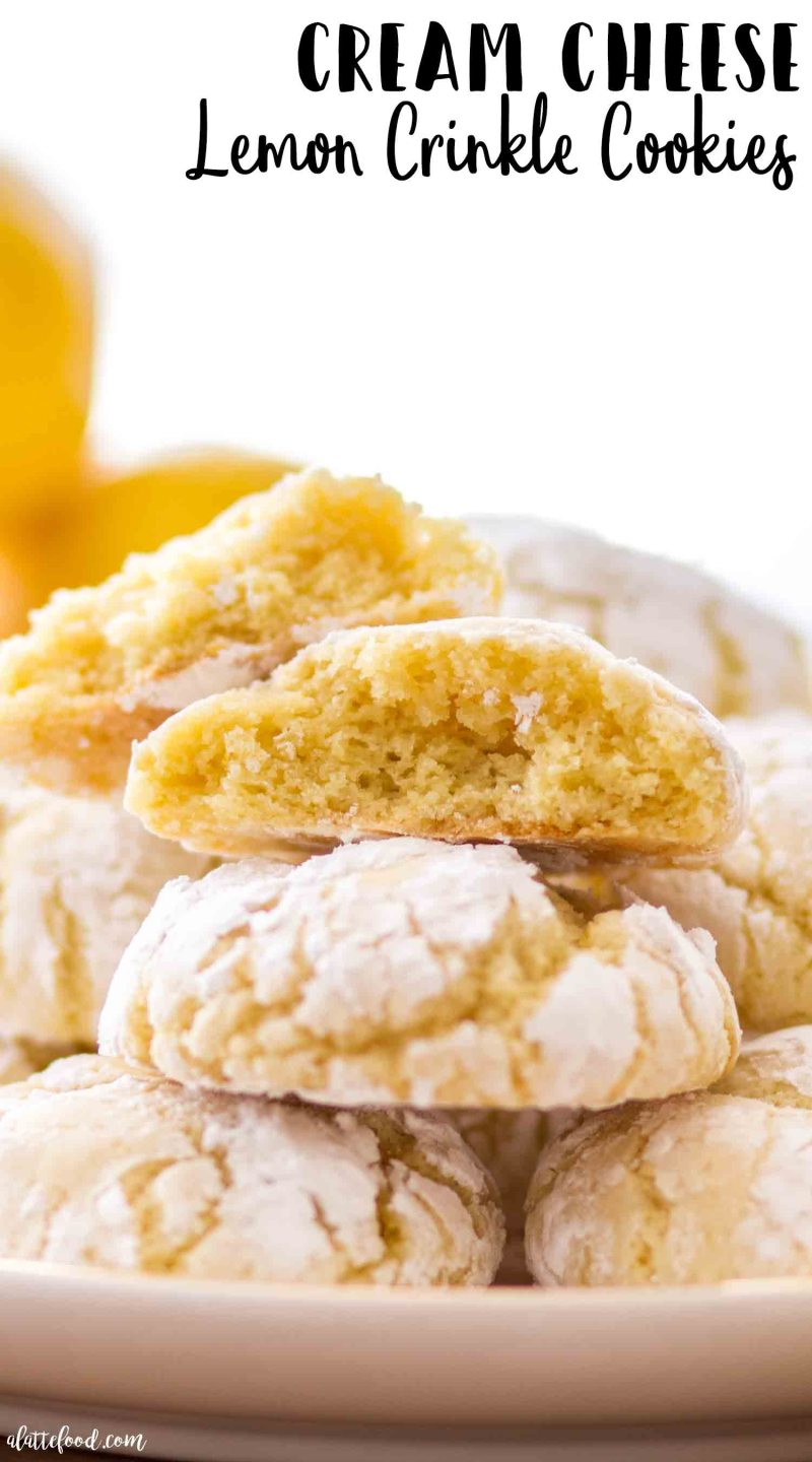 Super soft and chewy cream cheese lemon crinkle cookies