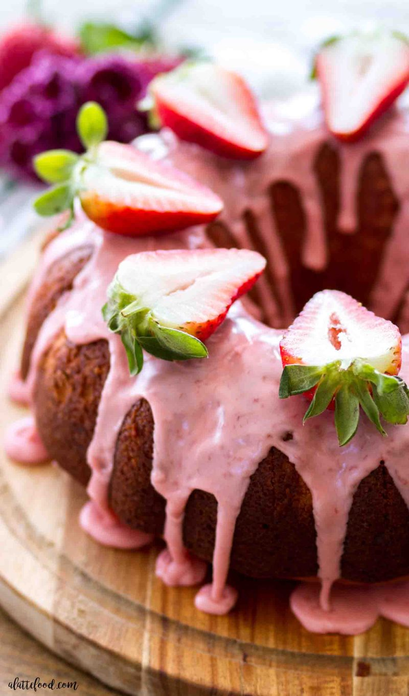 Homemade strawberry bundt cake recipe made from scratch and topped with a fresh strawberry glaze.